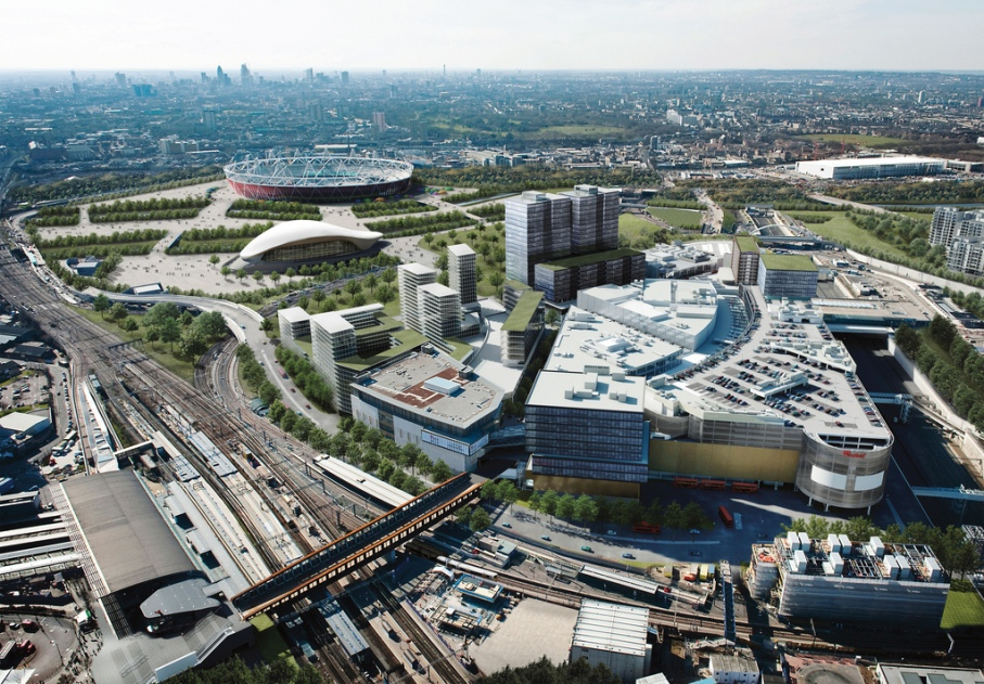 Artists impression of the completed Westfield Stratford City with Olympic Park in the background
